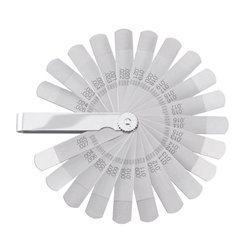 "Carbon Steel Inch Feeler Gage Set 22 blades, 1/2"" wide and 3"" long with .002 deep by 5/8"" step ground at tip"