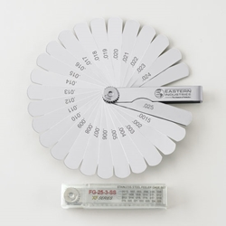 "Stainless Steel Inch Feeler Gage Set 25 blades, 1/2"" wide and 3"" long"