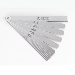 "Carbon Steel Inch Feeler Gage Set 26 blades, 1/2"" wide and 6"" long"