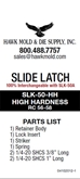 ROLLER SLIDE LATCH, HEAVY, UP TO 50 LBS. - SLK50A-HH