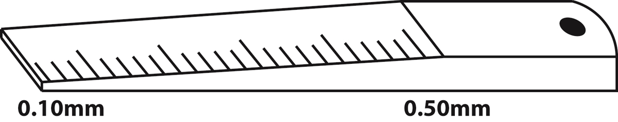 Wedge style taper gage from 0.10mm-0.50mm. Graduations are in 0.01mm increments with generous spacing for easy to read measurements. Thickness tolerance is ?0.005mm at each graduation. Overall dimensions are 12.7mm x 150mm.